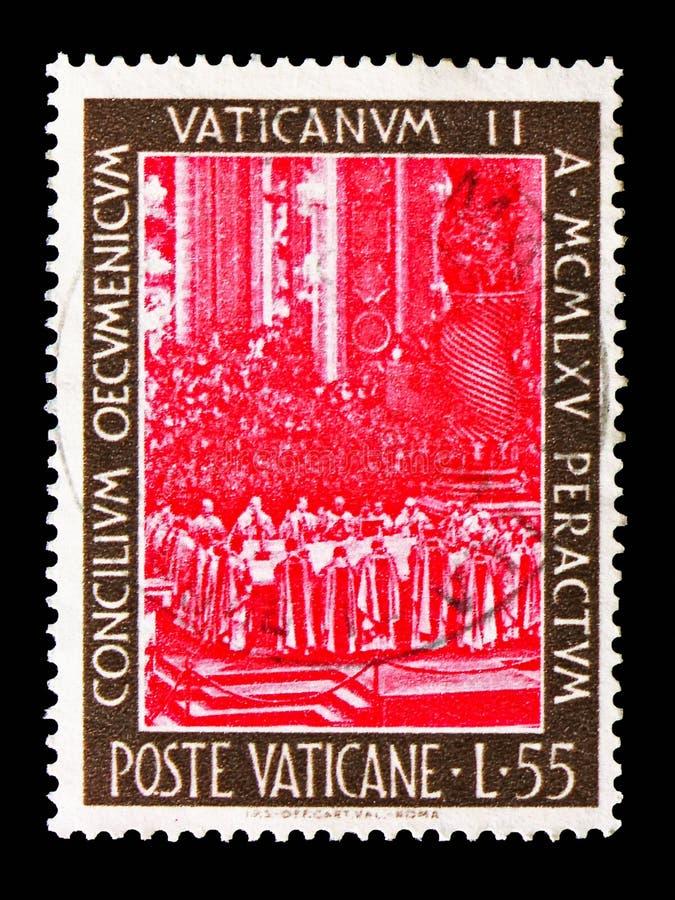 Högtidlig mass, stängning av serien för ekumeniskt råd, circa 1966 royaltyfri bild