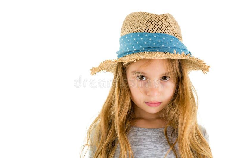 Högtidliga årig flicka för tanke lite 6 arkivbild