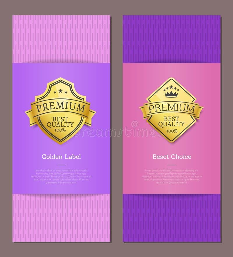 Högvärdig bästa prima lyxig garanti för guld- etikett vektor illustrationer