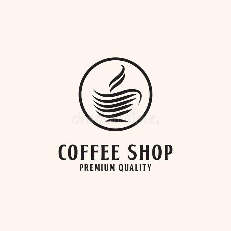 Högvärdig coffee shop Logo Design, med linjen stil stock illustrationer