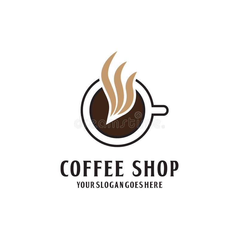 Högvärdig coffee shop Logo Design, varm kaffelogo royaltyfri illustrationer