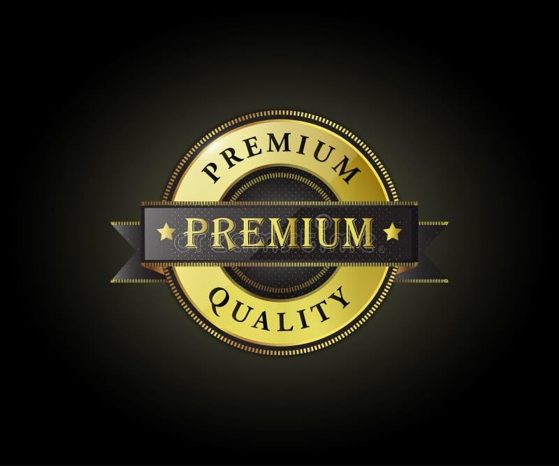 Högvärdig etikett som är högkvalitativ med glansigt på svart bakgrund royaltyfri illustrationer