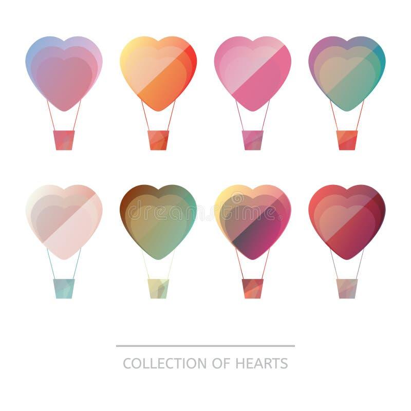 Högvärdig färgrik uppsättning av geometriska ballonghjärtor stock illustrationer