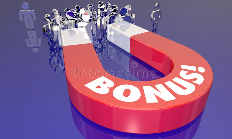 Högvärdig incitamentmagnet för bonus som tilldrar folk royaltyfri illustrationer