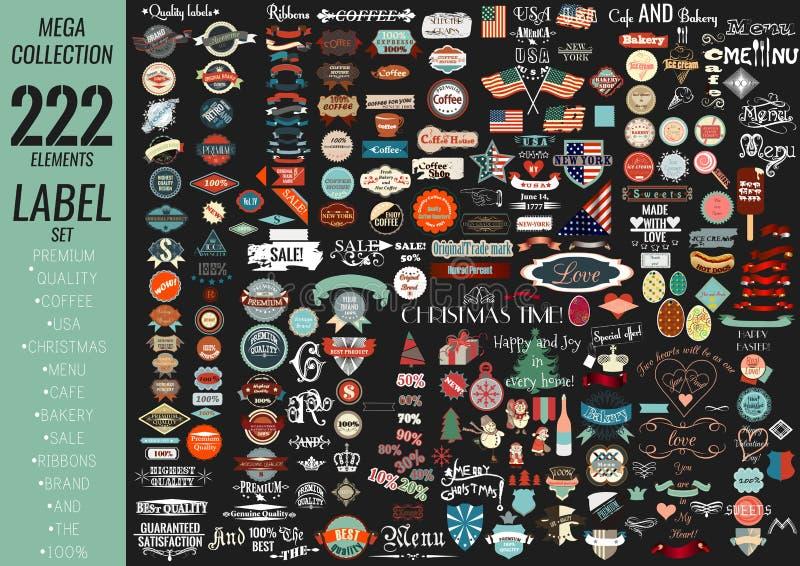 Högvärdig kvalitet för etikettuppsättning, kafé, bageri, försäljning, jul, och, royaltyfri illustrationer