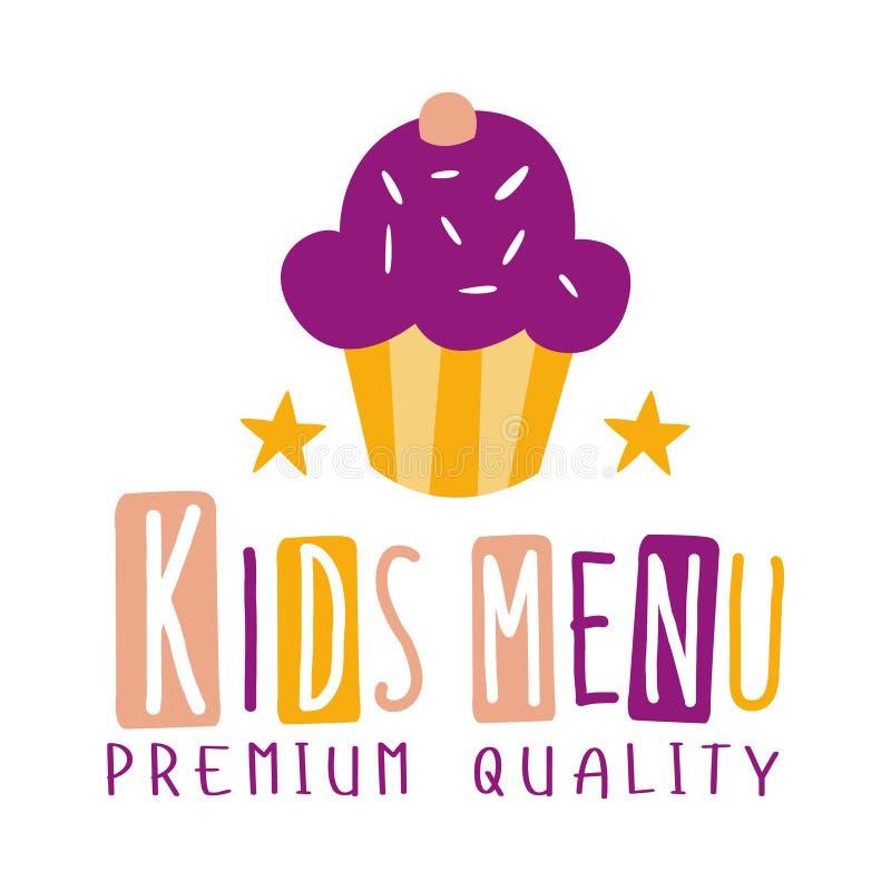 Högvärdig kvalitet lurar mat, den speciala menyn för kafé för för Promotecken för barn färgrik mall med text och muffin vektor illustrationer