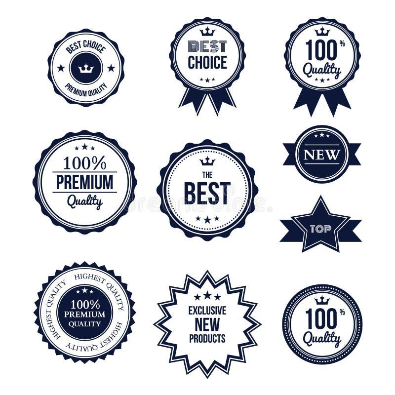 Högvärdig kvalitets- bästa prima etikettuppsättning vektor illustrationer