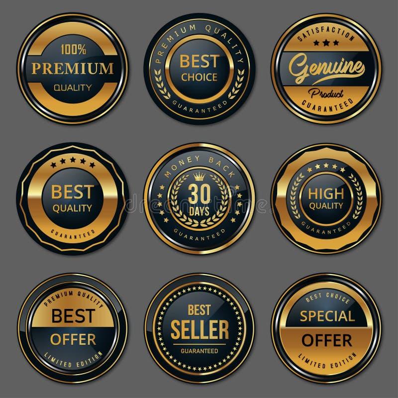 Högvärdig kvalitets- emblemetikettuppsättning royaltyfri illustrationer