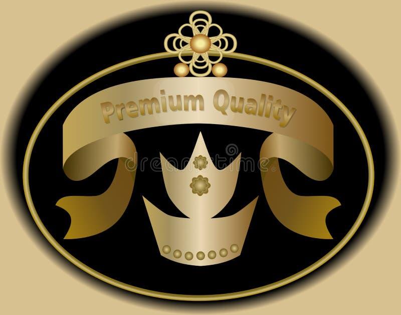 Högvärdig kvalitets- etikett i guld- design med kungligt kronasymbol Klistermärke i tappningstil royaltyfri illustrationer