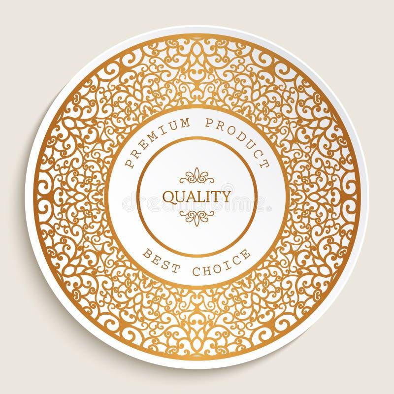 Högvärdig kvalitets- etikett med den guld- gränsen stock illustrationer