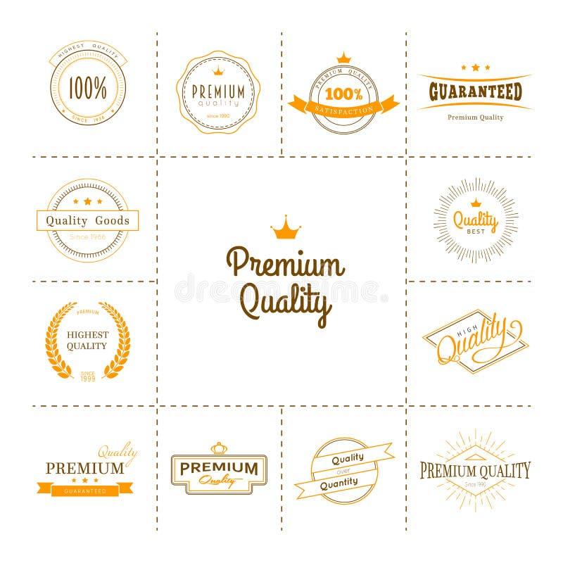 Högvärdig kvalitets- etikettuppsättning vektor illustrationer