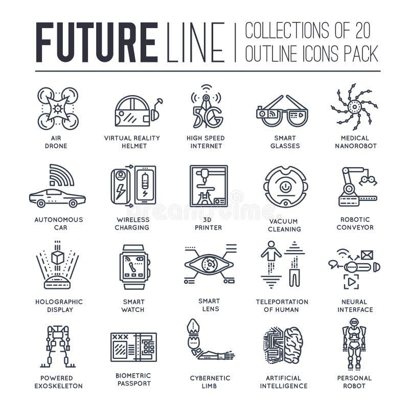 Högvärdig kvalitets- framtida tunn linje ollectionuppsättning I morgon minimalistic symbolpacke Modern teknologimall av symboler vektor illustrationer