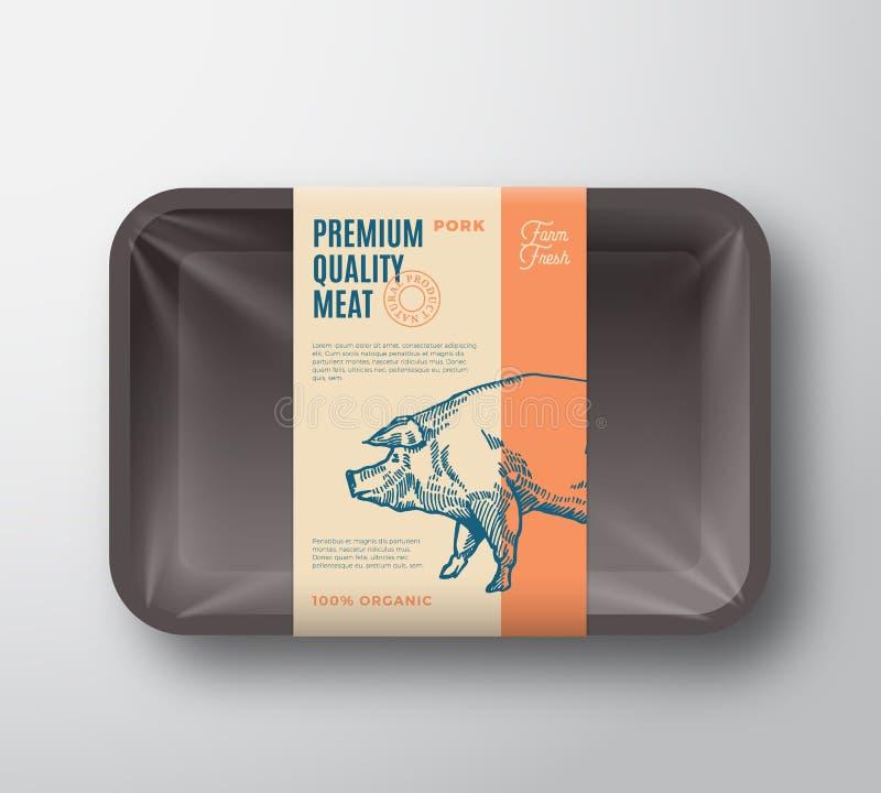 Högvärdig kvalitets- grisköttpacke Abstrakt vektorkött plast- Tray Container med cellofanräkningen Etikett för förpackande design stock illustrationer
