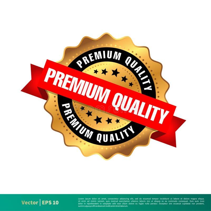 Högvärdig kvalitets- guld- design för illustration för mall för skyddsremsastämpelvektor Vektor EPS 10 stock illustrationer