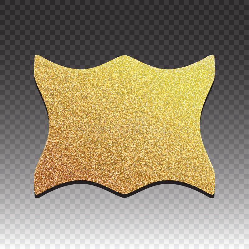 Högvärdig kvalitets- guld- etikett över vit bakgrund Skinande lyxigt emblem för guld- tecken stock illustrationer