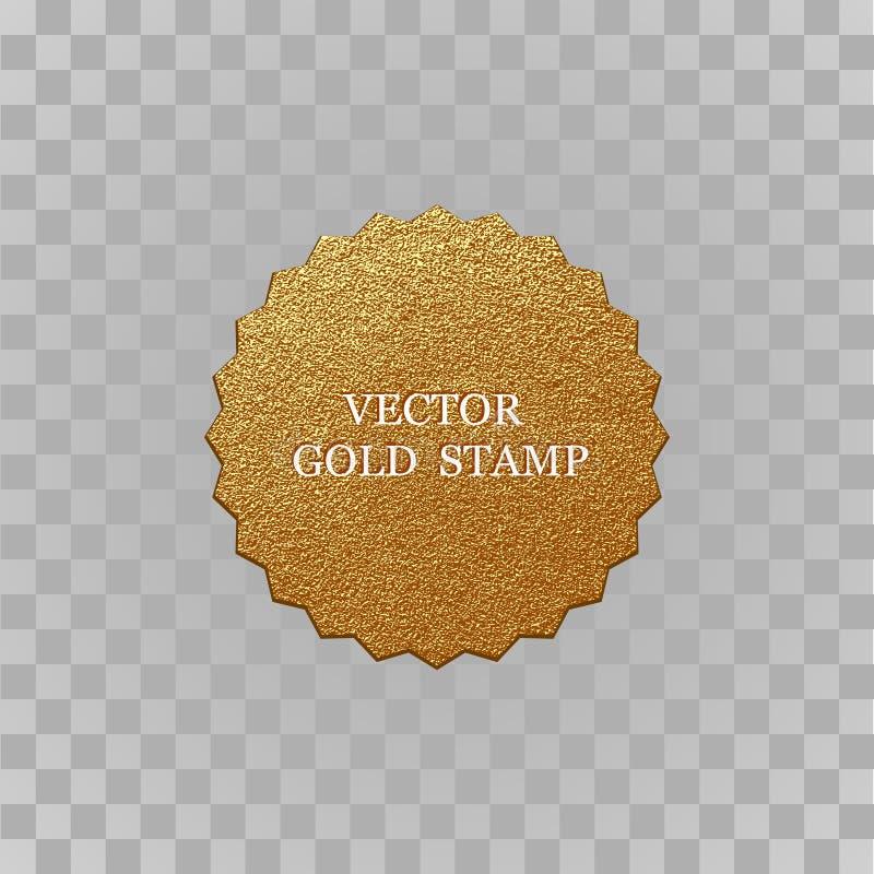 Högvärdig kvalitets- guld- etikett Skinande lyxigt emblem för guld- tecken Mest bra val, pris till salu logo royaltyfri illustrationer