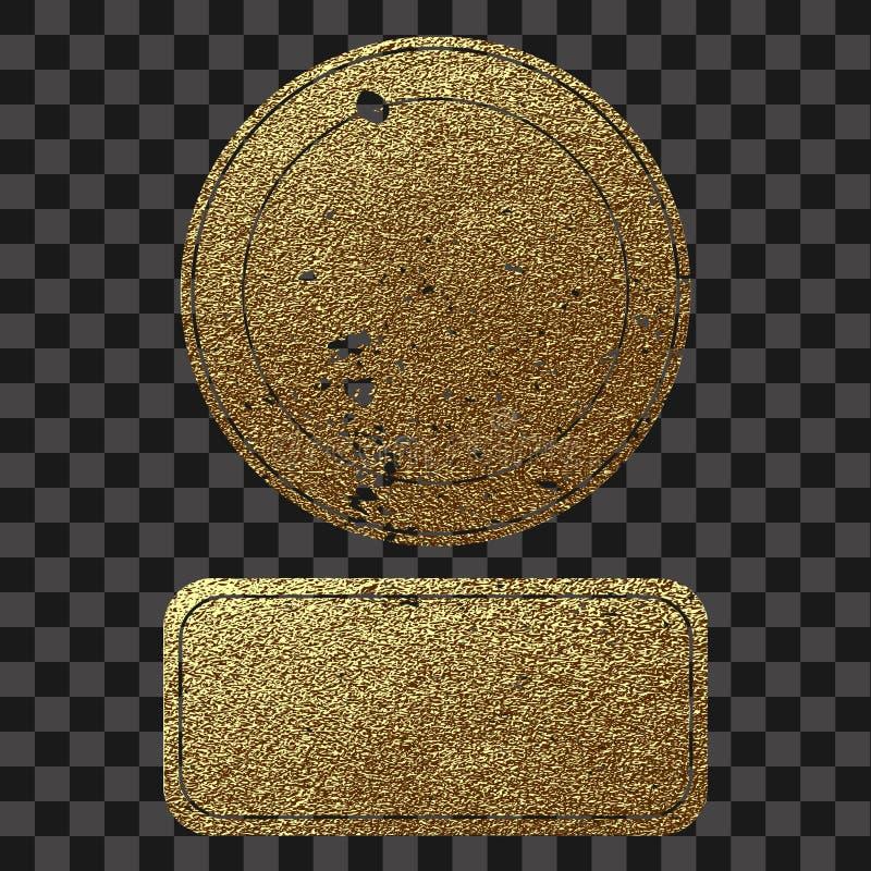 Högvärdig kvalitets- guld- etikett Guld- tecken Skinande lyxigt emblem Mest bra val, pris stock illustrationer