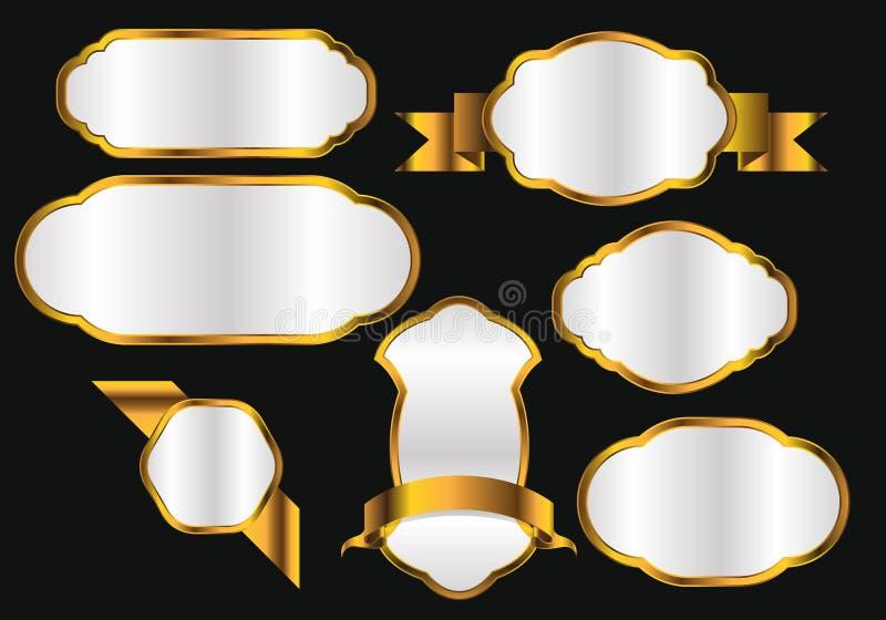 Högvärdig kvalitets- guld- vektor för lyx för uppsättning för etikettsamlingsdesign stock illustrationer