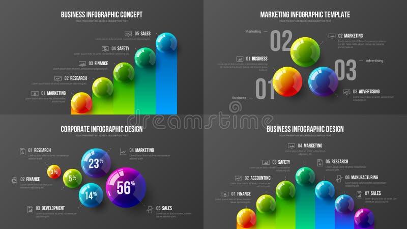 Högvärdig kvalitets- mall för illustration för vektor för marknadsföringsanalyticspresentation Orientering för design för visuali stock illustrationer