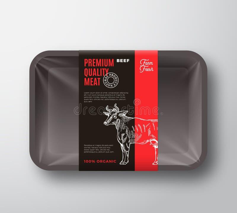 Högvärdig kvalitets- orientering för förpackande design för nötköttkött med etikettbandet Abstrakt vektormat plast- Tray Containe royaltyfri illustrationer