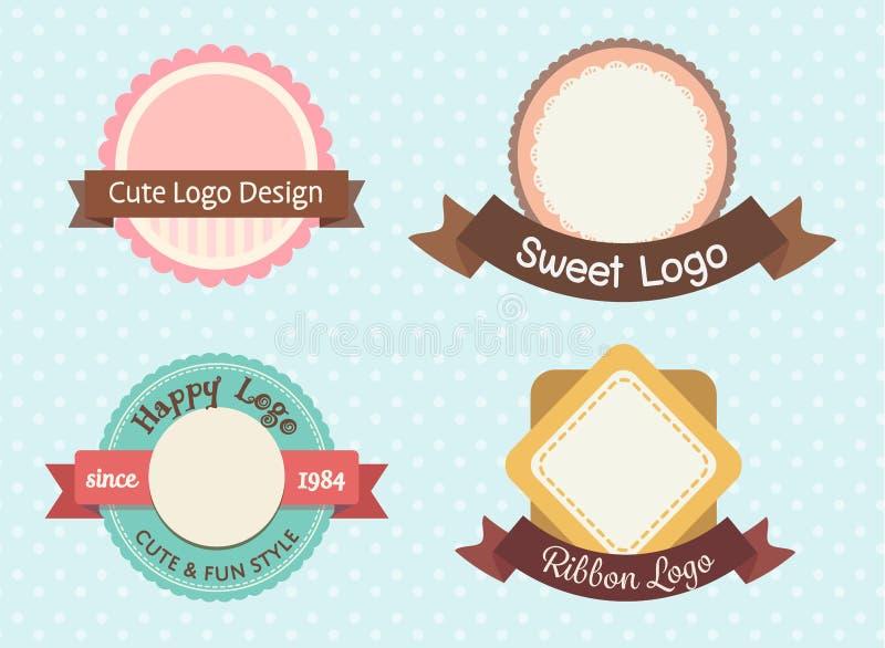 Högvärdig logo för gullig och söt pastellfärgad tappning vektor illustrationer