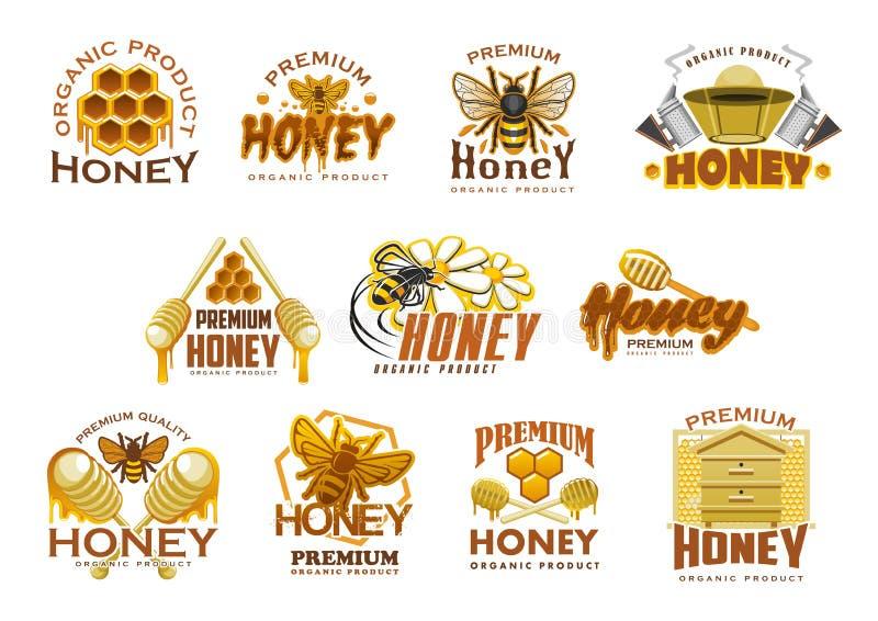 Högvärdig söt matsymbol för honung med biet och hårkammen royaltyfri illustrationer