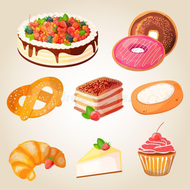 Högvärdig samling av färgrika smakliga kakor och bagerit vektor illustrationer