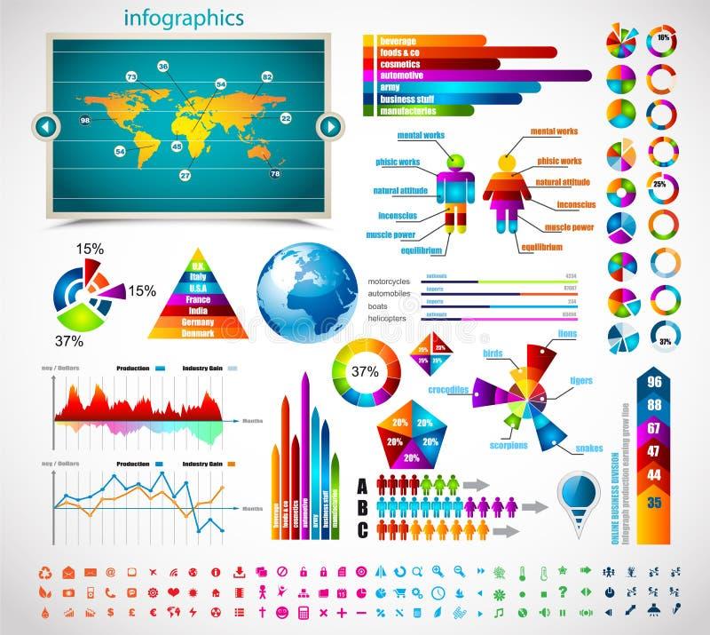 högvärdig samlingsinfographicsförlage vektor illustrationer