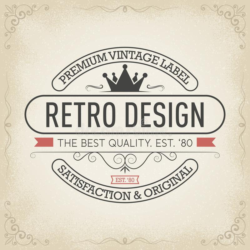 Högvärdig tappningetikett, typografilogodesign i retro stil vektor illustrationer