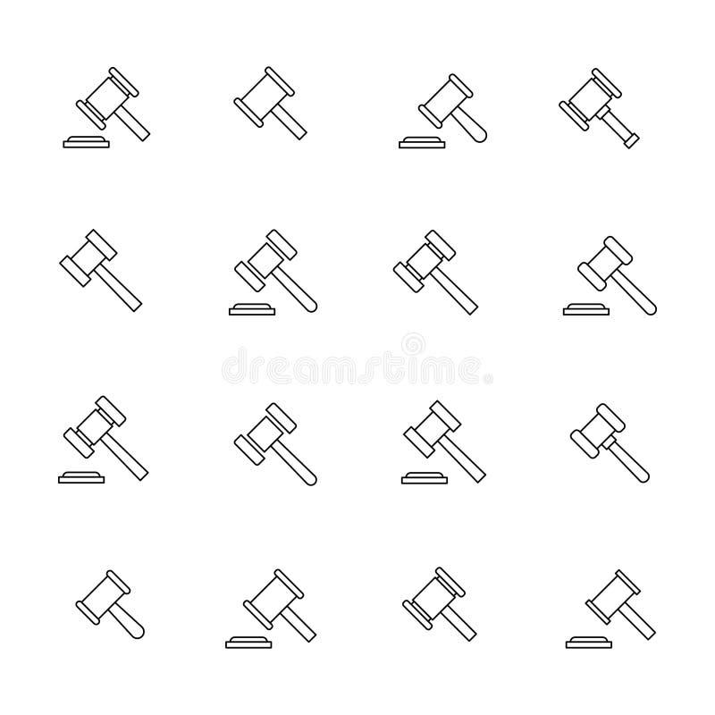 Högvärdig uppsättning av auktionlinjen symboler vektor illustrationer