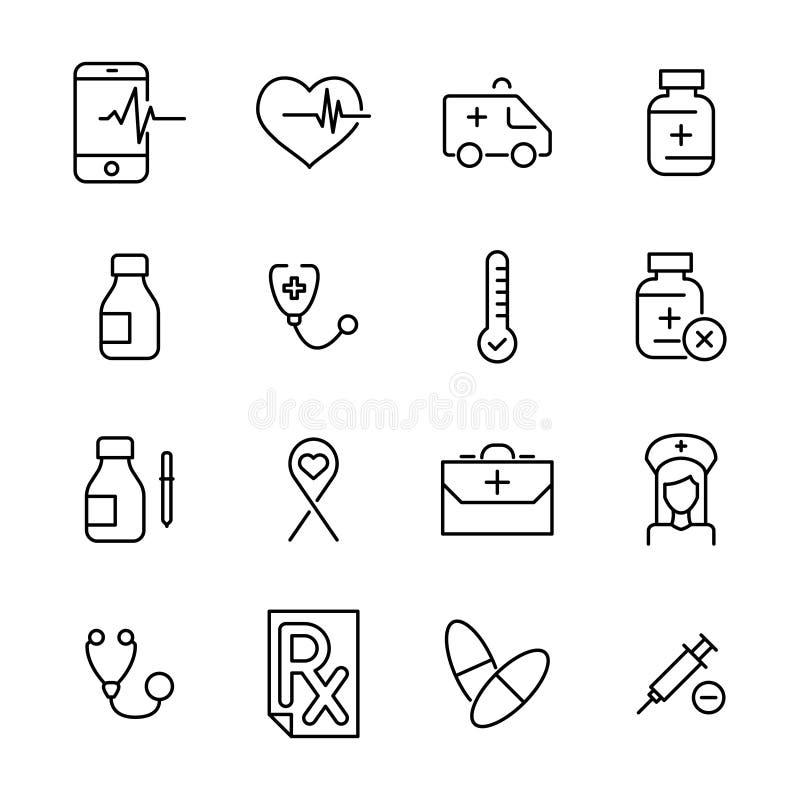 Högvärdig uppsättning av den vård- linjen symboler stock illustrationer