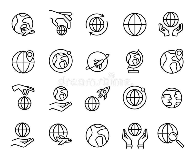 Högvärdig uppsättning av jordklotlinjen symboler royaltyfri illustrationer