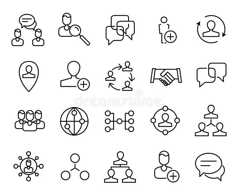 Högvärdig uppsättning av nätverkslinjen symboler royaltyfri illustrationer