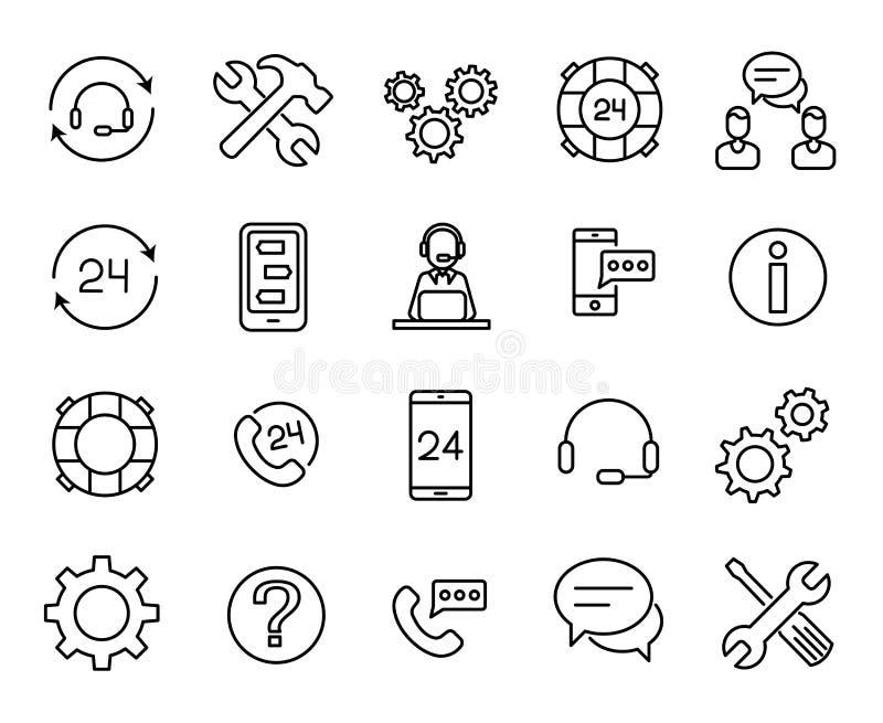 Högvärdig uppsättning av online-servicelinjen symboler stock illustrationer