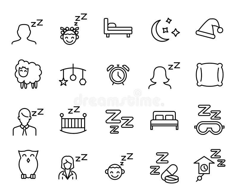 Högvärdig uppsättning av sömnlinjen symboler stock illustrationer