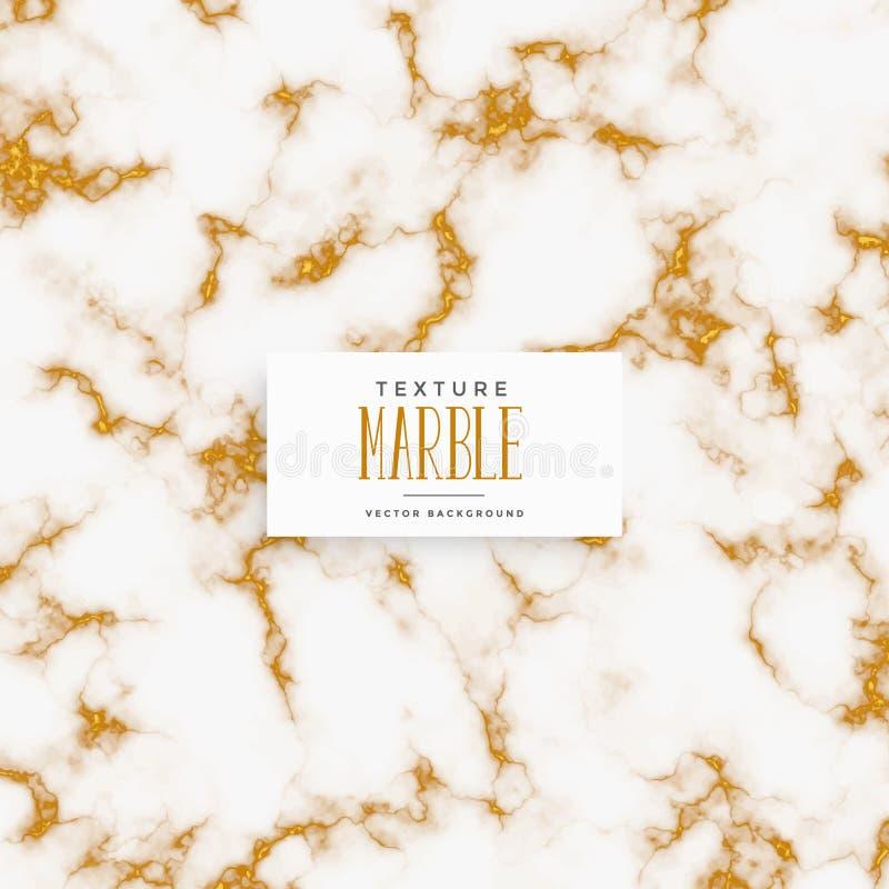 Högvärdig vit och guld- marmortexturbakgrund vektor illustrationer