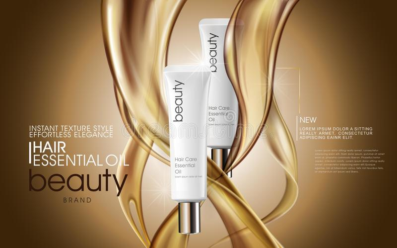 Högvärdiga annonser för hårolja royaltyfri illustrationer