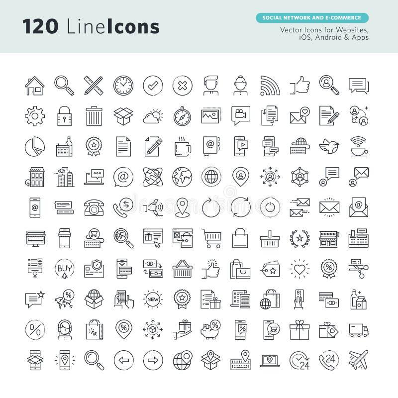Högvärdiga begreppssymboler ställde in för socialt nätverk och e-kommers stock illustrationer