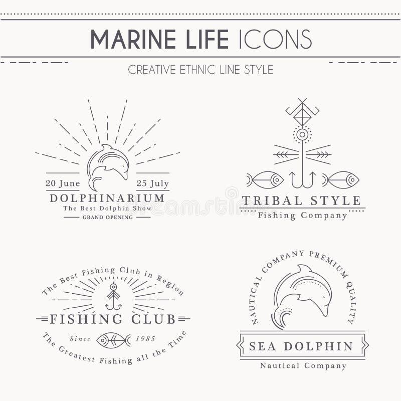 Högvärdiga gruppemblem med havsdelfin, delfinarium som fiskar klubban vektor illustrationer
