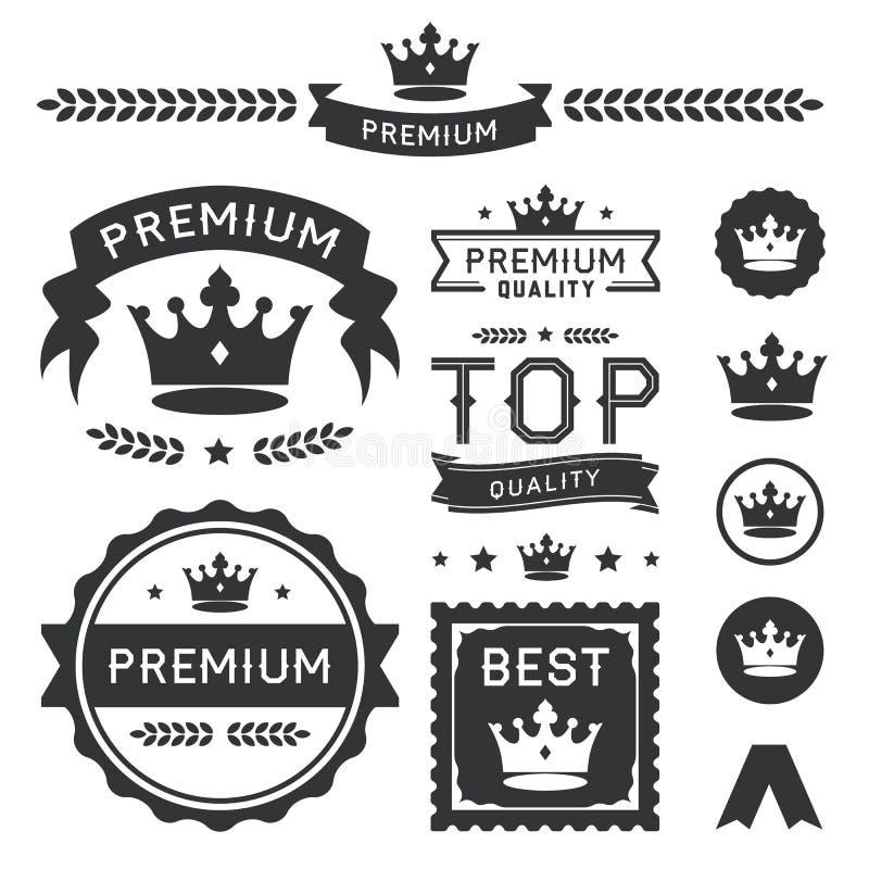 Högvärdiga kronaemblem & vektorbeståndsdelsamling stock illustrationer