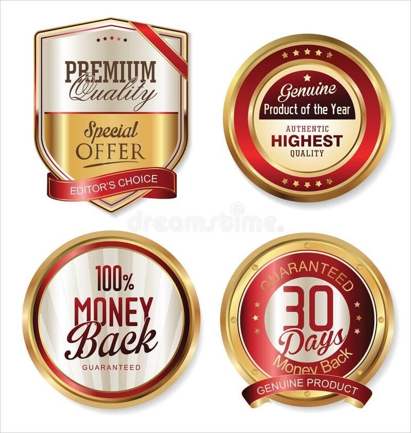 Högvärdiga kvalitets- guld- sköldar och etiketter royaltyfri illustrationer