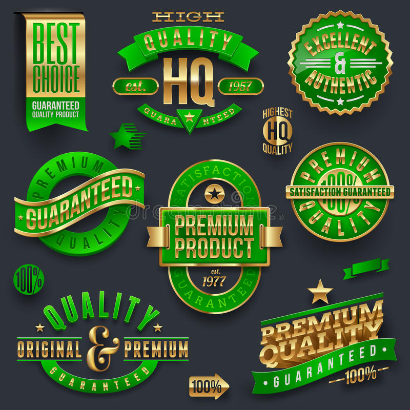 Högvärdiga kvalitets- och garanterade etiketter royaltyfri illustrationer