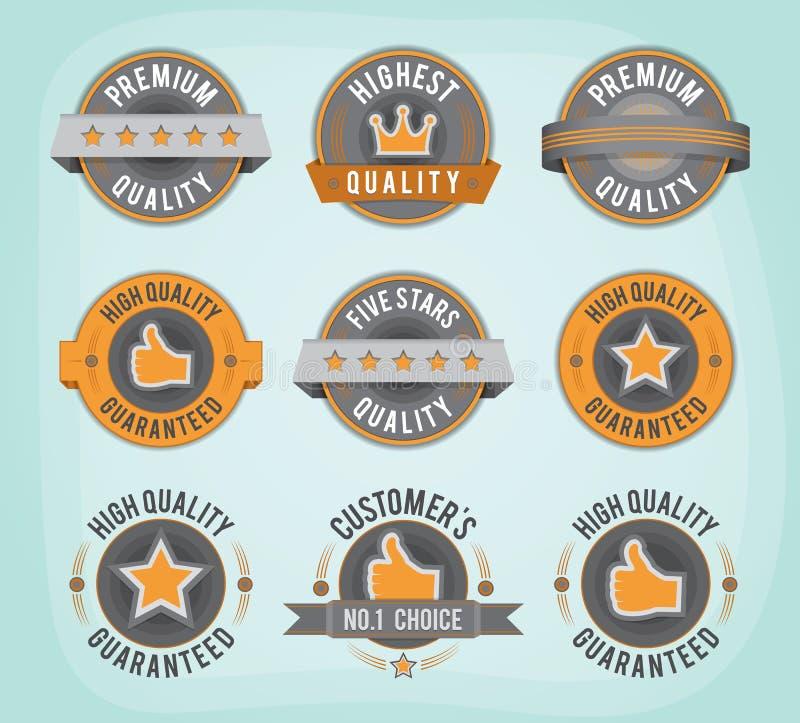 Högvärdiga och högkvalitativa retro emblem stock illustrationer