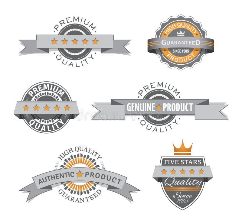 Högvärdiga och högkvalitativa retro etiketter royaltyfri illustrationer
