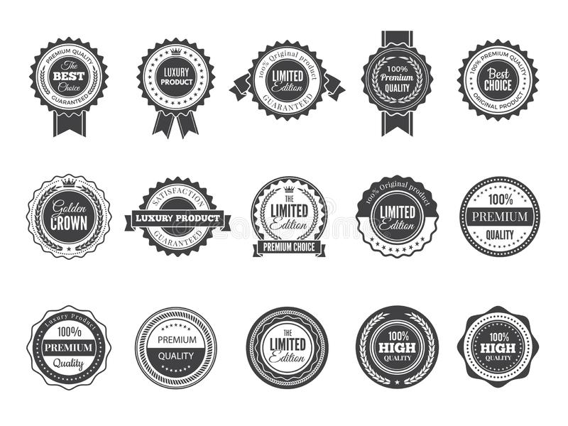 Högvärdigt emblem för tappning Lyxiga högkvalitativa bästa primaa etiketter eller logoer för mall för svart för stämpelvektorsaml vektor illustrationer