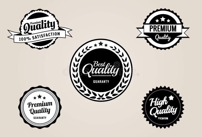 Högvärdigt kvalitets- & garanti märker och emblem - retro tappning utformar vektor illustrationer