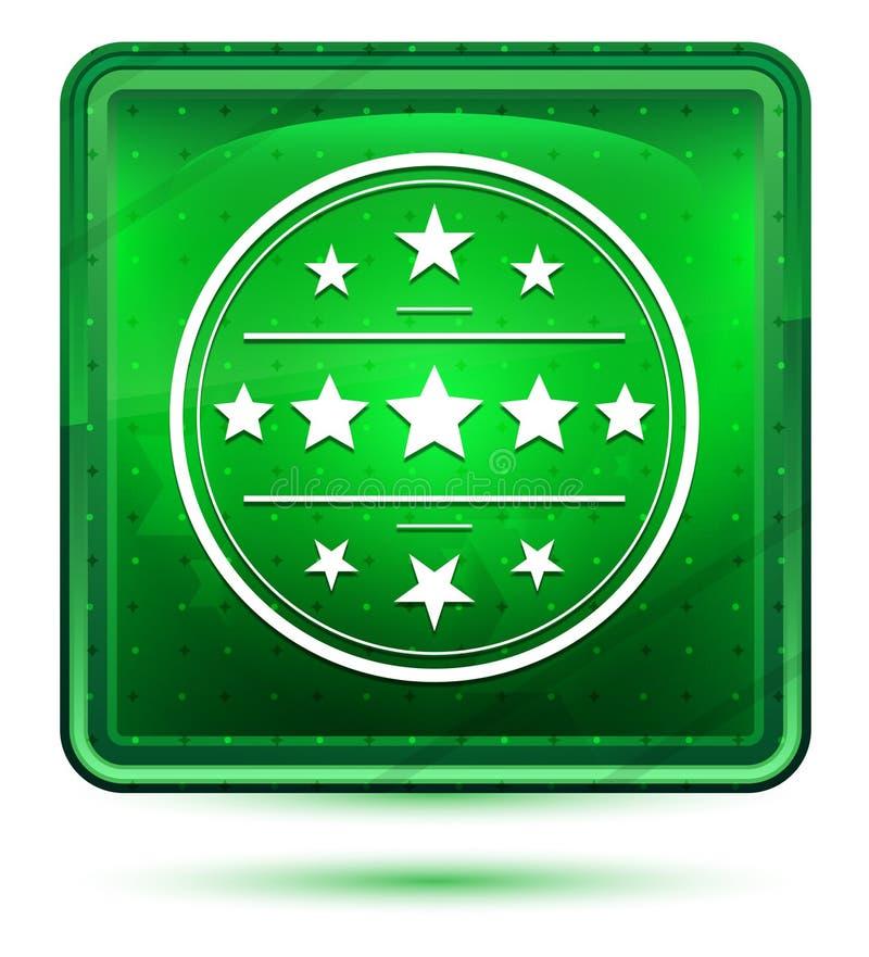 Högvärdigt ljus för emblemsymbolsneon - grön fyrkantig knapp stock illustrationer