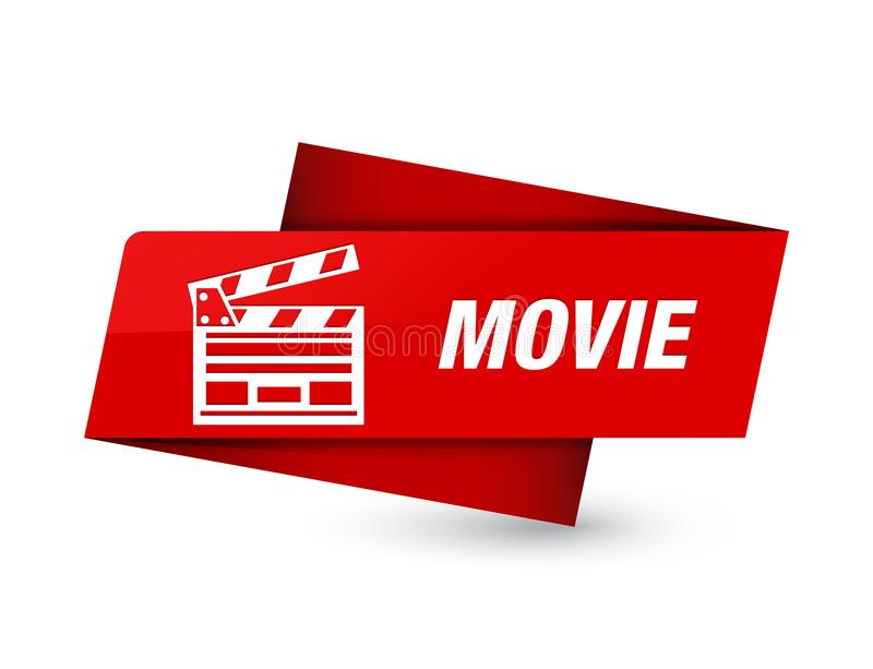 Högvärdigt rött etikettstecken för film (biogemsymbol) stock illustrationer