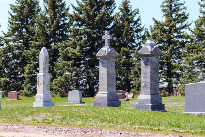 Högväxt gravsten i kyrkogården royaltyfri foto