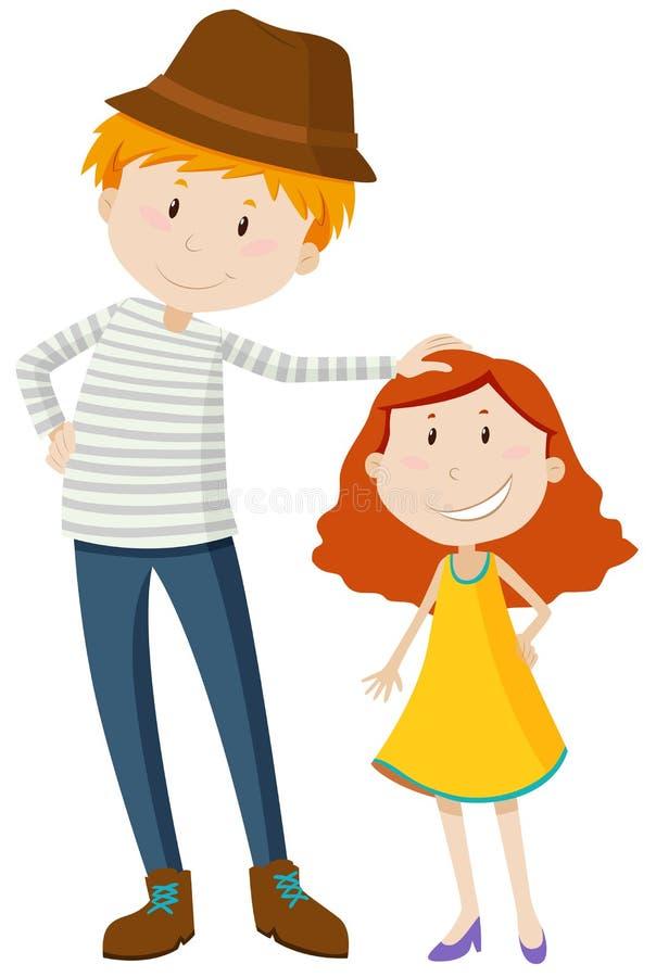 Högväxt man och kort flicka royaltyfri illustrationer